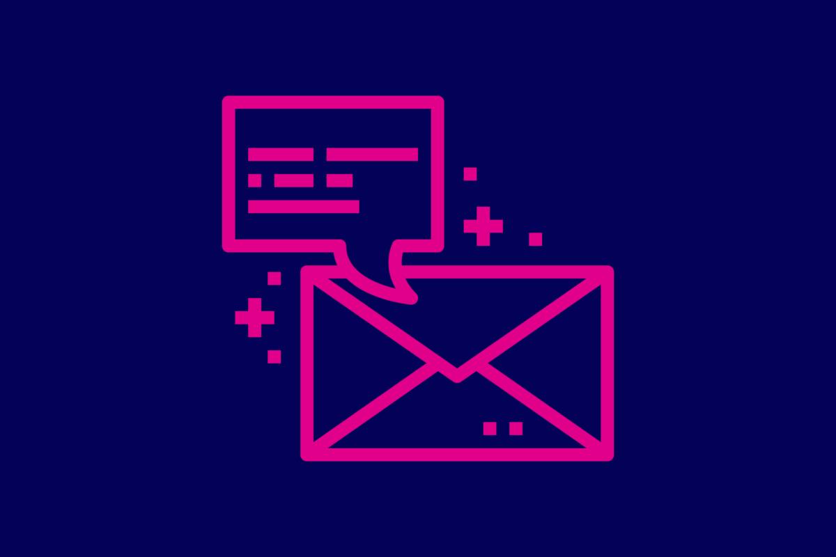 Symbol: Nachricht und Briefumschlag.