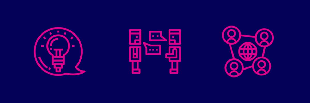 Drei Symbole: eine Glühbirne, zwei Menschen im Gespräch und ein Netzwerk.